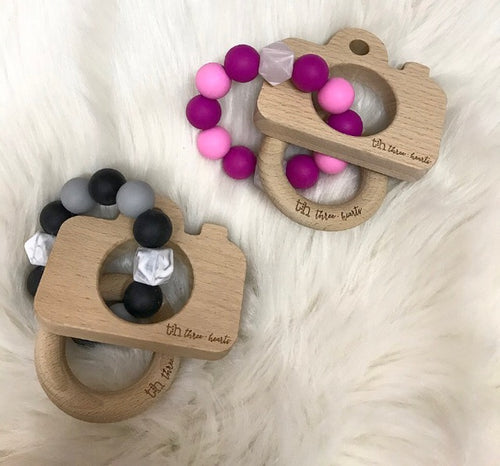 CAMERA - Chewable Silicone and Beech Wood Teething Rattle