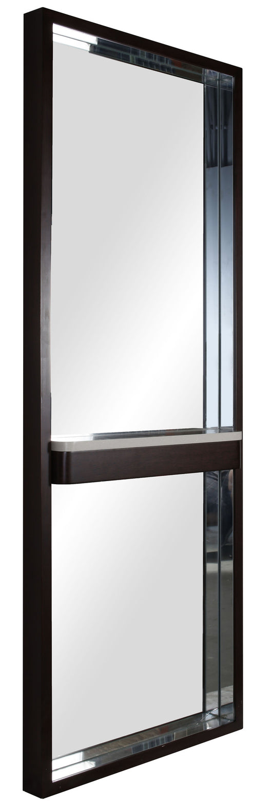 Espresso mirror with shelf