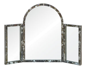 Tri-fold paneled antique mirror frame