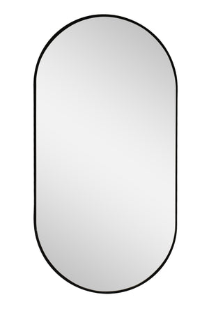 matte black oval shaped mirror