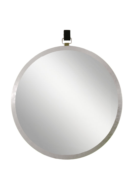 Round mirror with metal frame and decorative leather strap