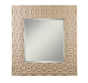 Square mirror with carved frame detail