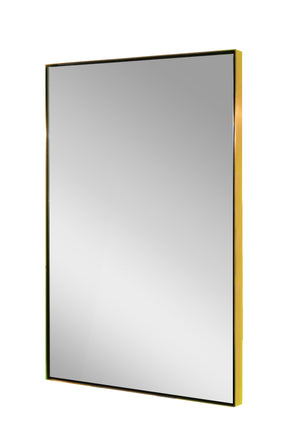Plated brushed brass finish square mirror