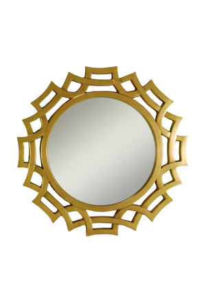 Sunburst mirror with open decorative frame