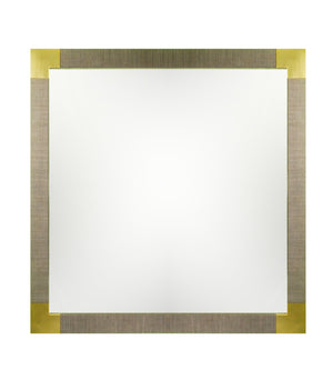 Square mirror frame wrapped in heather grey linen