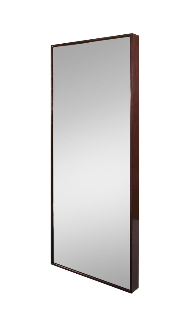 Chocolate stained mirror frame finish