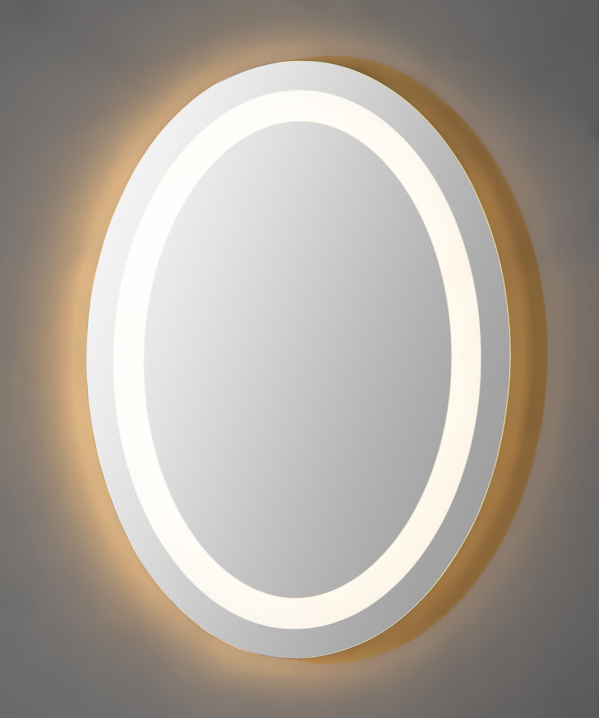 Oval shaped frame less backlit mirror.