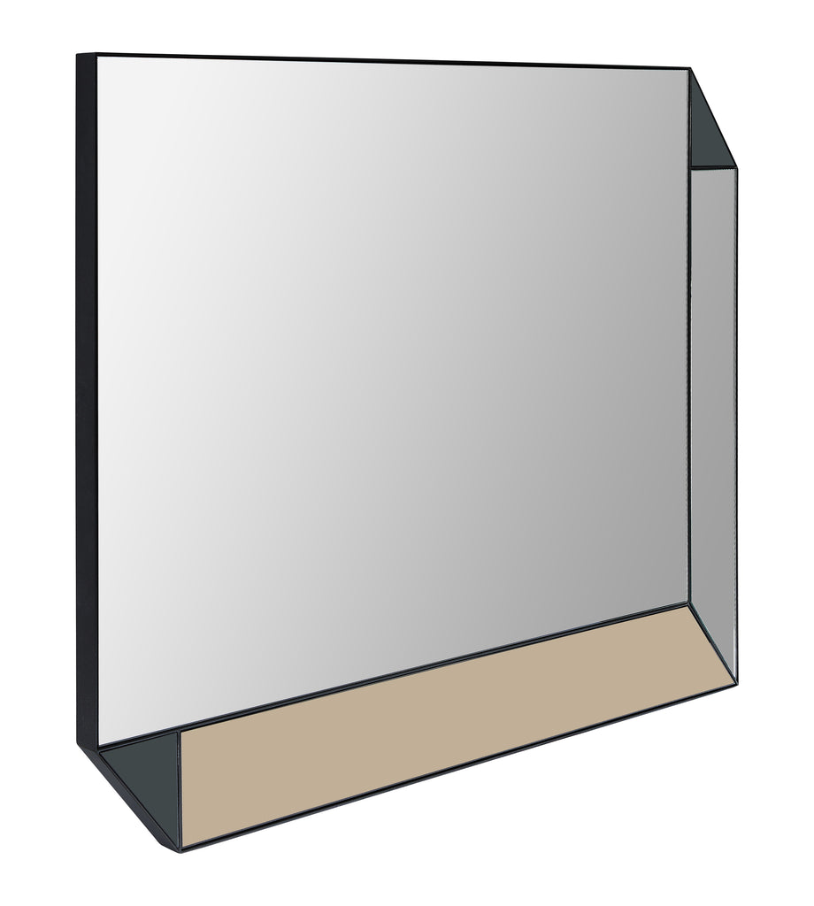 Custom mirror with minimal metal frame and mirrored panel insets