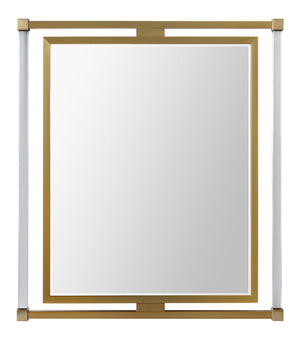 Decorative transitional mirror mad with acrylic and brass
