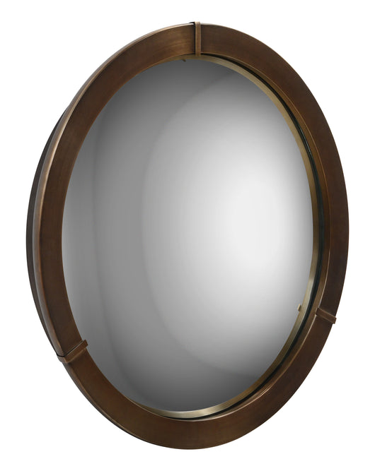 Convex decorative round mirror created with a plated bronze frame finish