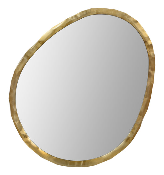 Asymmetrical mirror steel frame in plated light bronze and hammered texture.
