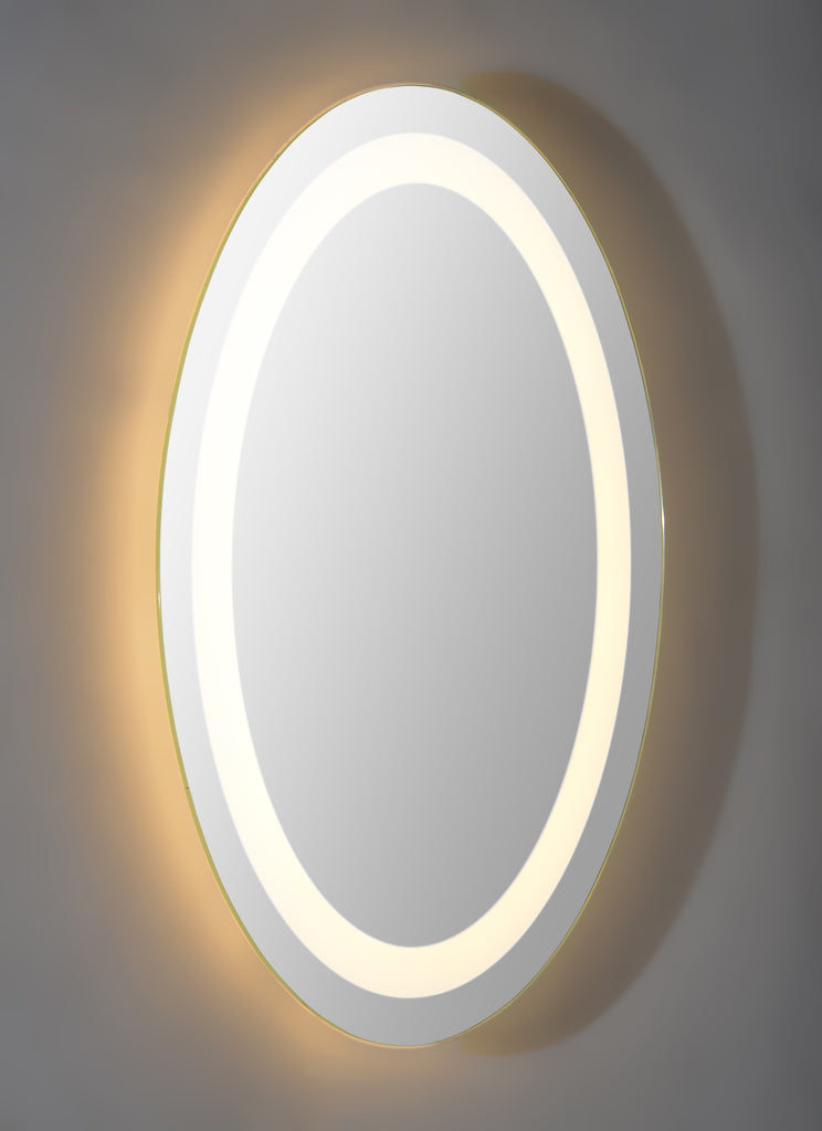 Oval shaped frame less back lit mirror.