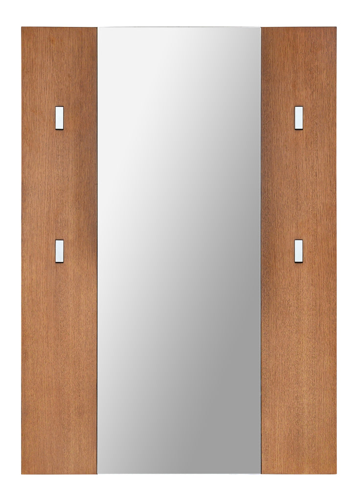 Flush lay mirror with wood panels and coat hooks
