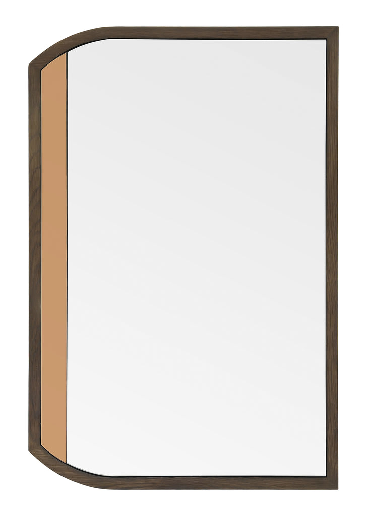 Stained wood frame and custom colored mirror