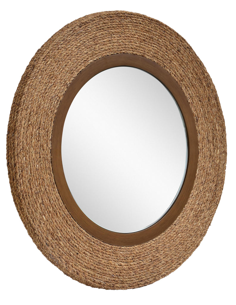 Round mirror with natural rope