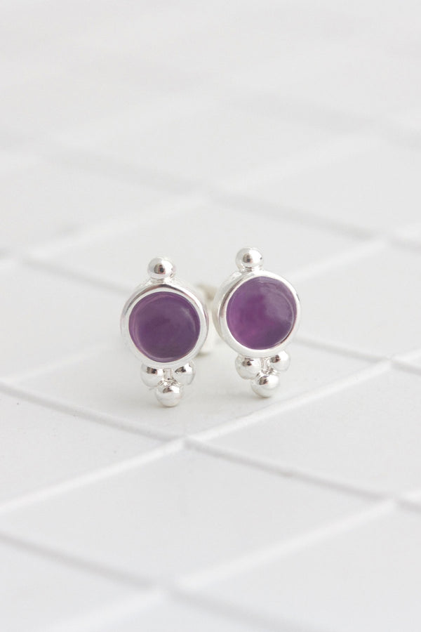 Birthstone Studs | Silver | February