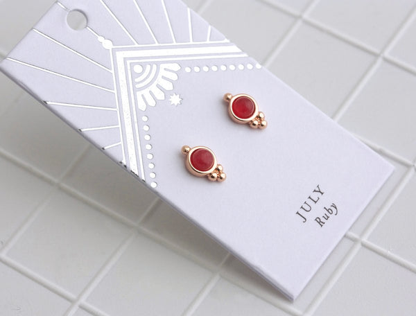 Birthstone Studs | Silver | July