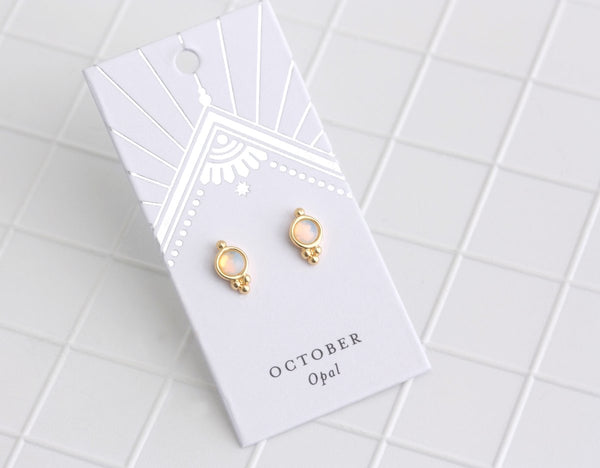 Birthstone Studs | Silver | October