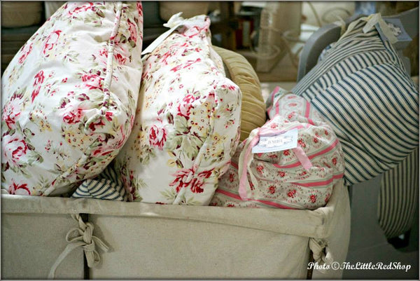 Vintage Bin of Floral Pillows by Junebug ~ Photo The Little Red Shop