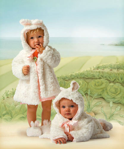 Heirloom Baby Clothing ~ Babies wearing Bunnies by the Bay's Original Cuddle Coats in front of Cricket Island Watercolor Background