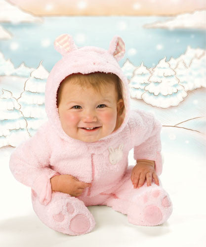 Baby Clothes ~ Winter Scene of Baby wearing Bunnies by the Bay Blossom's Pink Snugsuit