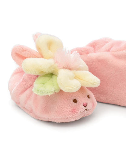 Bunnies by the Bay's Petal Pump Pink Baby Bunny Slippers with Yellow Daisy