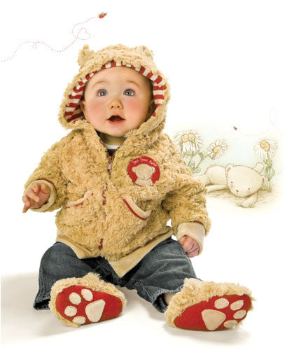 Baby wearing Bunnies by the Bay's Bao Bao Bear Coat and Bear Slippers