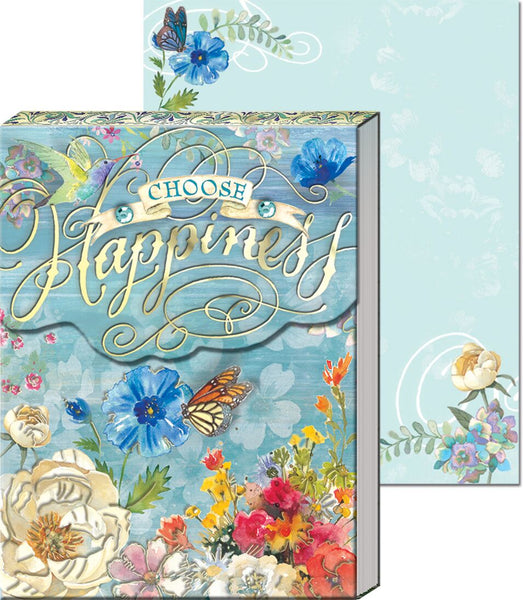 """Choose Happiness"" Blue & Floral Pocket Note Pad ~ Close up view"