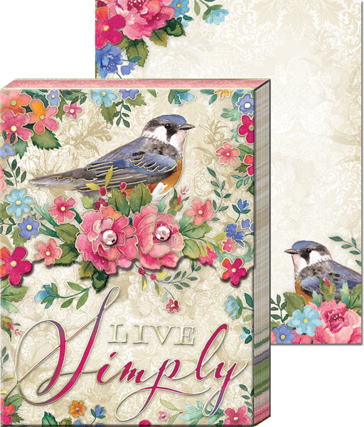 """Live Simply"" Pocket Note Pad with Birds and Flowers ~ Close Up View"