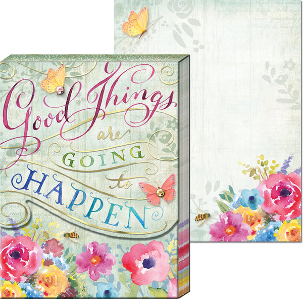 """Good Things Are Going to Happen"" Floral Pocket Note Pad ~ Close Up View"