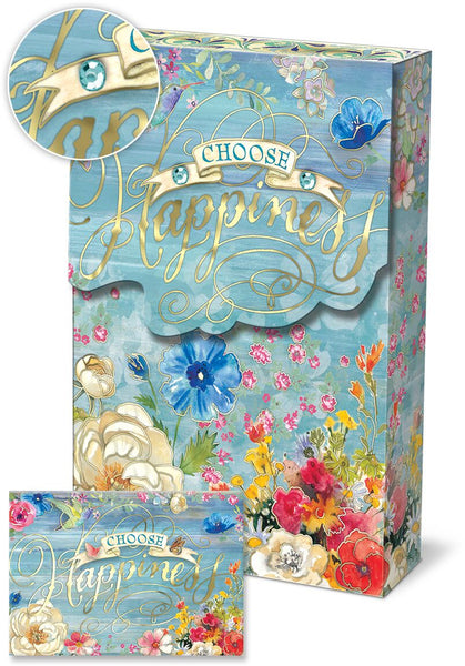"""Choose Happiness"" Notecard Set in blue with gem and flowers ~ close-up view"