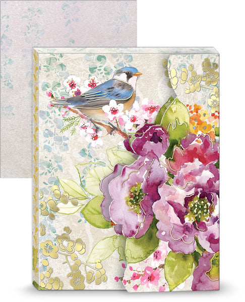 Bird & Blossoms Portfolio Pocket Notepad ~ Close Up View