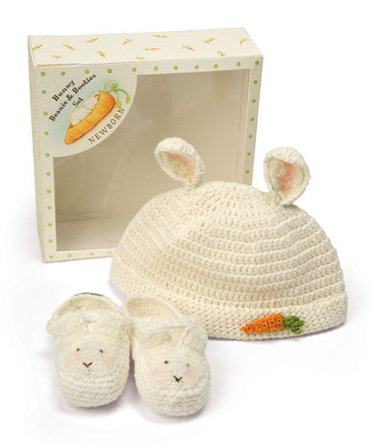 Bunnies by the Bay Cream Crocheted Newborn Baby Bunny Bonnet and Booties Gift Set