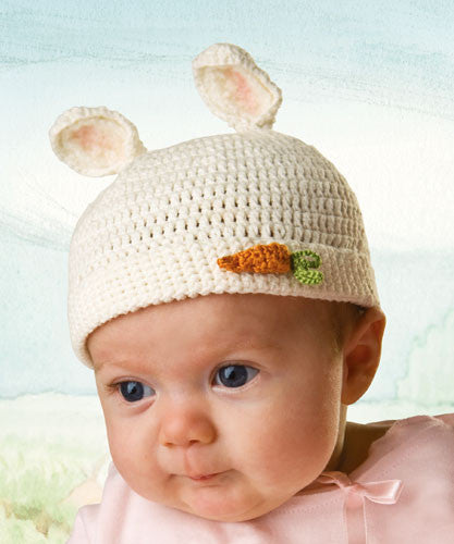 Baby wearing Bunnies by the Bay's Cream Crocheted Newborn Baby Bunny Bonnet
