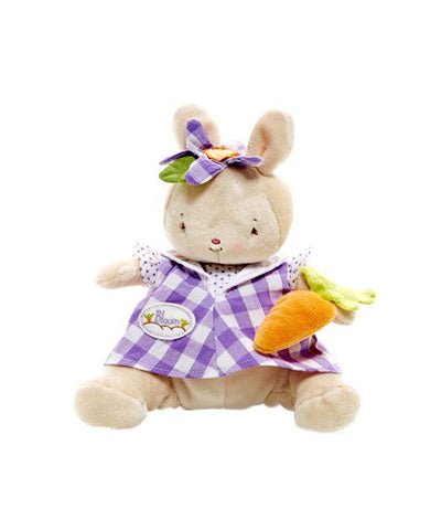 Bunnies by the Bay Bloom Bunny Rabbit in Purple Gingham Dress holding Carrot