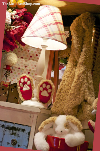 The Little Red Shop Display featuring Bao Bao Bear Coat and Slippers, and Floppy Skipit Dog Stuffed Animal