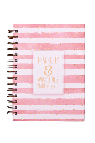 Pink & White Striped Wire Bound Journal