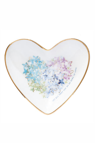 Gold-rimmed Floral Heart Shaped Dish