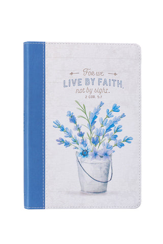 Blue and White Journal with Flower Bucket