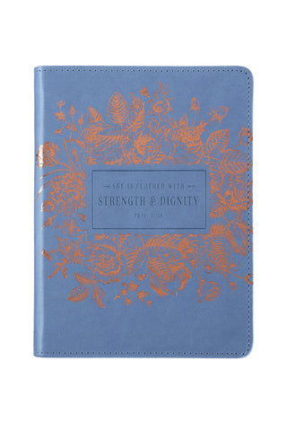 Classic Blue Strength & Dignity Proverbs 31:25 Journal