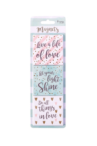 Live a Life of Love Magnet Set in Pink, Aqua, and White