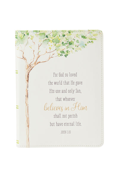 For God So Loved the World White Journal w/ Tree & Verse