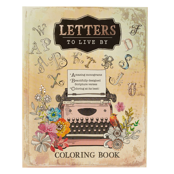 Letters to Live By ~ A-Z Monograms, Proverbs Coloring Book ~ Cover Close-Up View