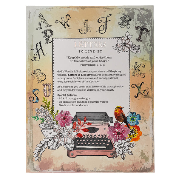Letters to Live By ~ A-Z Monograms, Proverbs Coloring Book ~ Back Cover