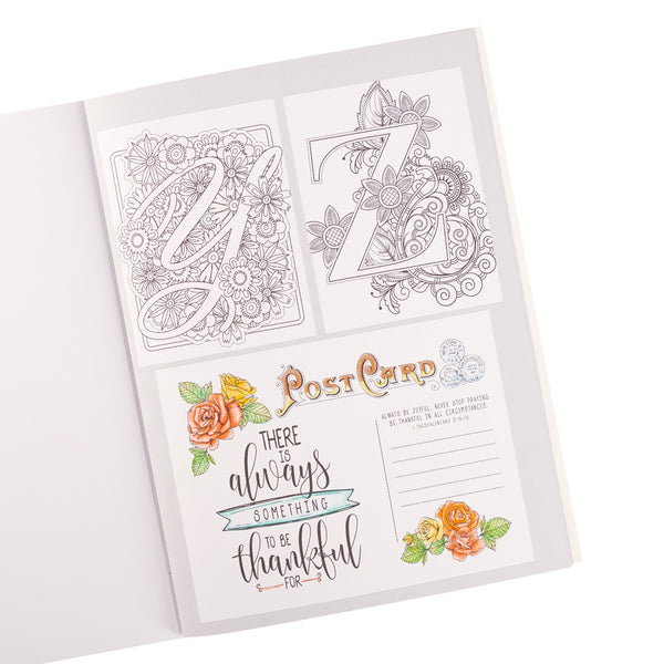 Letters to Live By ~ A-Z Monograms, Proverbs Coloring Book ~ Postcard View
