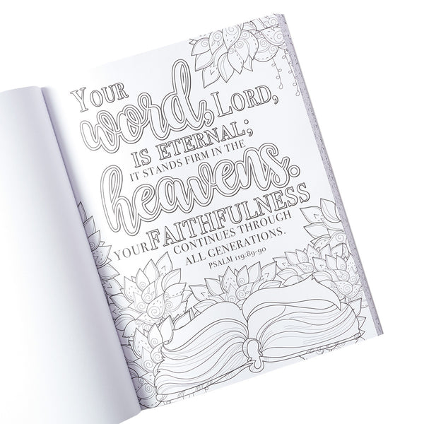 Promises Coloring Book ~ Interior View with Scripture