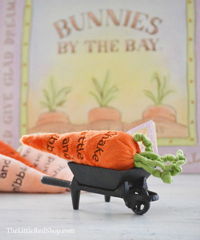 Bunnies by the Bay's Carrot Baby Rattle in a Little Wheelbarrow