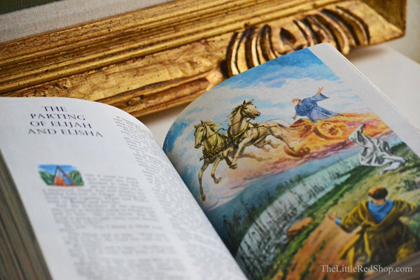 Horse and Chariot Illustration in Vintage Children's Bible