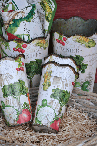 Michel Design Works Int The Greenhouse From My Garden Vegetable Decoupage Tin Flower Cans