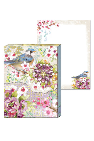 Chinoiserie Garden Brooch Mini Note Pad with Spring Blossoms and a Little Bird